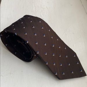 Corneliani 100% silk brown tie. Made in Italy